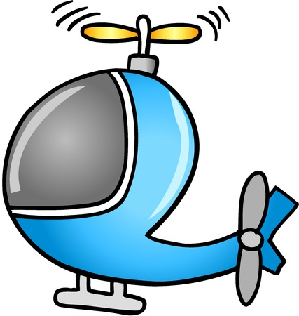 helicopter rescue: Cute Doodle Cartoon Helicopter Vector Illustration