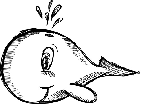 Sketchy Cute Whale Vector Illustration