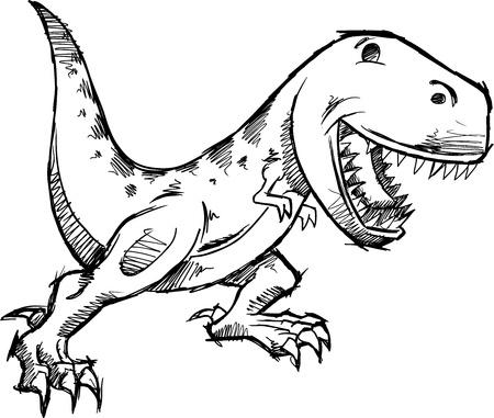 tyrannosaurus: Tyrannosaurus Dinosaur Doodle Sketch Vector Illustration