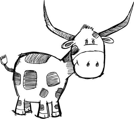 funny ox: Goofy Sketch Bull Cattle Animal Vector Illustration Art