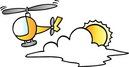 Cute Little Helicopter Vector Illustration Çizim