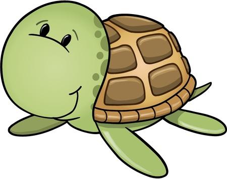 green sea turtle: Cute Happy Sea Turtle Vector Illustration