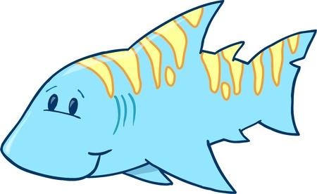 Cute Blue Shark Vector Illustration