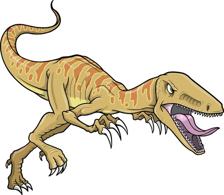 Raptor Dinosaur Vector Illustration  Vectores