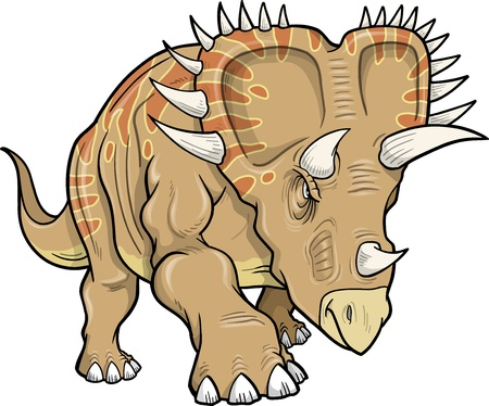 Vector Illustration of a Triceratops Dinosaur