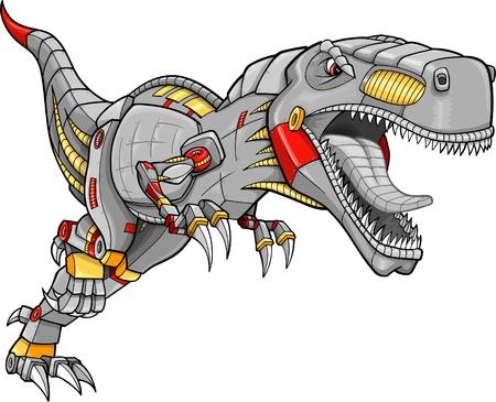 dinosaur teeth: Robot Tyrannosaurus Dinosaur Vector Illustration  Illustration