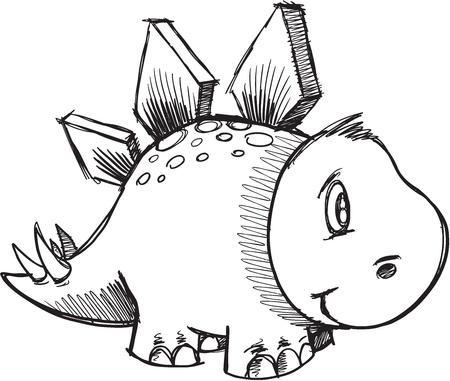 stegosaurus: Stegosaurus Dinosaur Sketch Doodle
