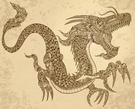 Henna Tattoo Dragon Doodle Sketch Tribal grunge Vector Illustration Art