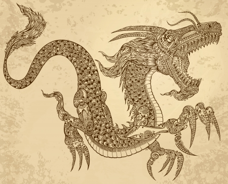 dragon tattoo: Henna Tattoo Dragon Doodle Sketch Tribal grunge Vector Illustration Art