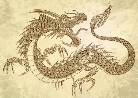Henna Tattoo Dragon Doodle Sketch Tribal grunge  イラスト・ベクター素材