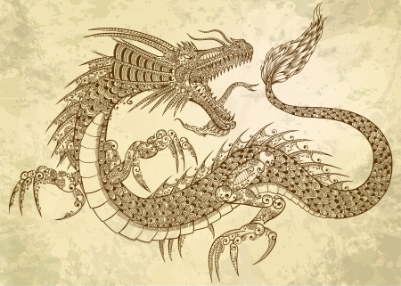 dragon tattoo design: Henna Tattoo Dragon Doodle Sketch Tribal grunge Illustration