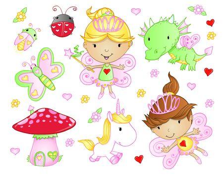 Cute Fairy Princess Flowers Bug and Animal Vector Set