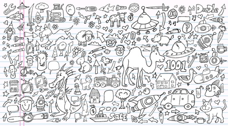 Notebook Doodle Clip art Design set Vettoriali
