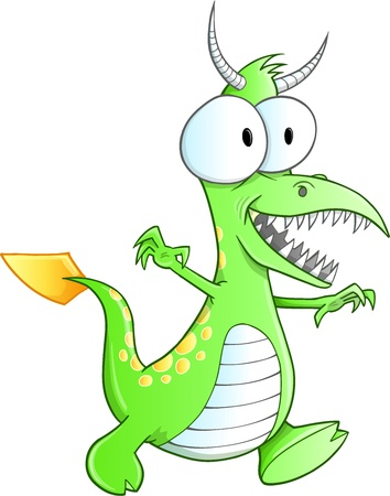 Cute Green Monster Vector Art 向量圖像