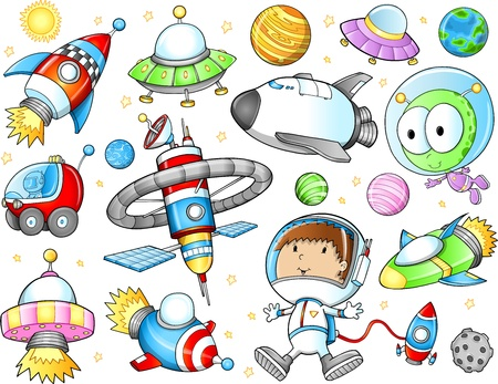 Cute Outer Space Spaceships and Astronaut Vector Set Illustration