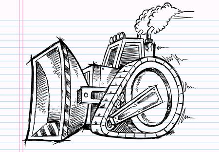 Sketch Doodle Bulldozer Illustration  일러스트