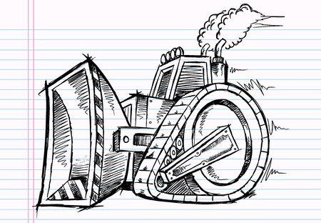 Sketch Doodle Bulldozer Illustration  Vector