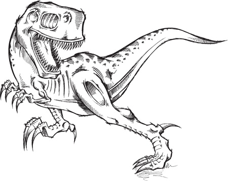 tiranosaurio rex: Sketch Doodle dinosaurio Tyrannosaurus Rex T-Rex Ilustraciones