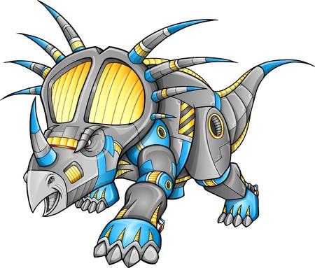 Robot Machine Triceratops Dinosaur   イラスト・ベクター素材