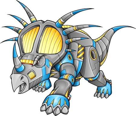 Robot Machine Triceratops Dinosaur  Illustration