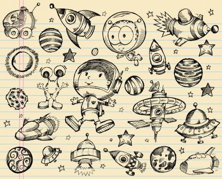 우주 낙서 스케치 그림 세트 일러스트