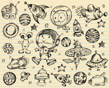 space shuttle: Outer Space Doodle Sketch Illustration Set