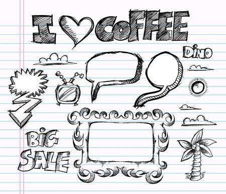 Sketch Doodle Vector Illustratie Art Set
