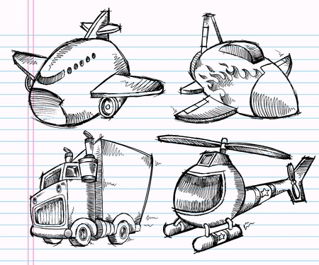 Cute Sketch Doodle Transportation Vector set