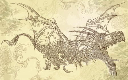 Henna Tattoo Dragon Doodle Sketch Tribal Vector Art