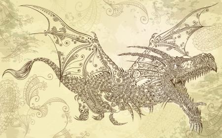 mhendi: Henna Tattoo Dragon Doodle Sketch Tribal Vector Art