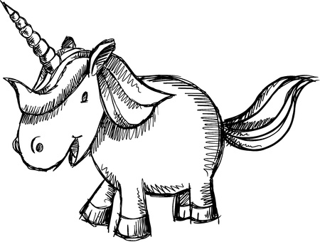 Doodle Sketch Unicorn  Art Stock Vector - 15397917