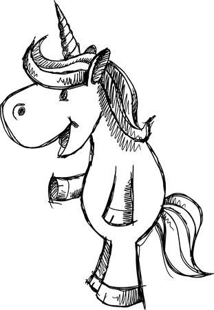 Doodle Sketch Unicorn  Art  Stock Vector - 15397911
