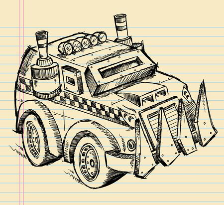 apocalyptic: Apocalyptic Vehicle Truck Sketch Vector Illustration Art