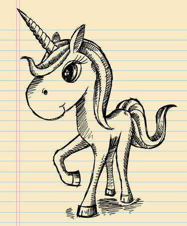 Notebook Sketch Unicorn Doodle Art  Stock Vector - 15481765