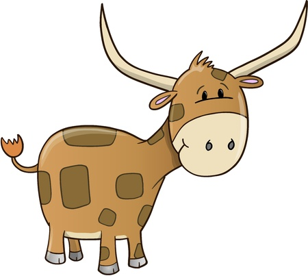 Cute Ox Vector Illustration Art