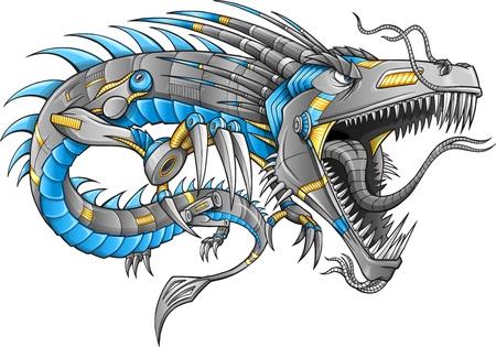 tatouage dragon: Cyborg Robot dragon Illustration