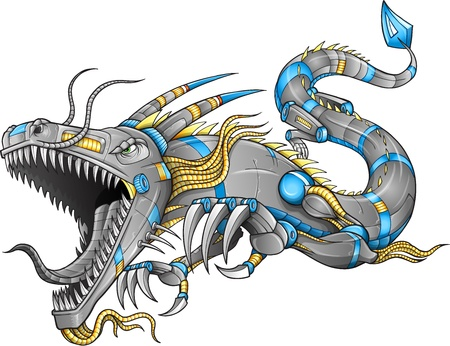 dragon tattoo design: Robot Cyborg Dragon
