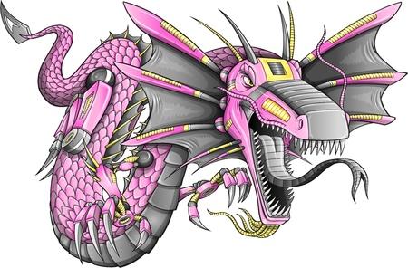 Robot Cyborg Dragón Ilustración de vector