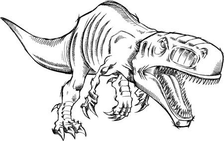 ティラノサウルス レックス恐竜 T-レックスをスケッチします。 写真素材 - 15746151