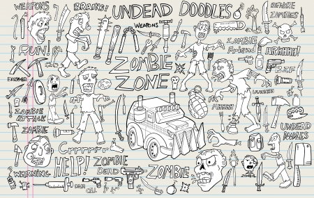 ninja tool: Zombie Undead Doodle Vector Illustration Set