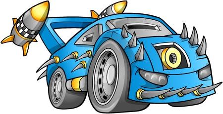 apocalyptic: Apocalyptic Car Vehicle Vector  Illustration
