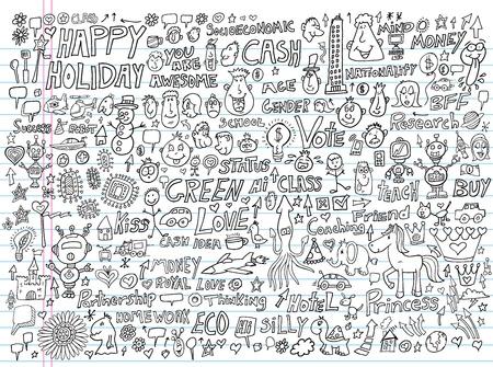 Doodle Design Elements Illustration Set