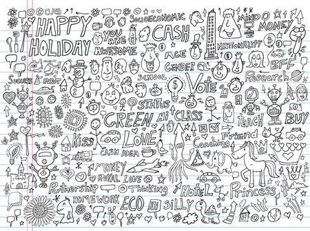 money cat: Doodle Design Elements Illustration Set