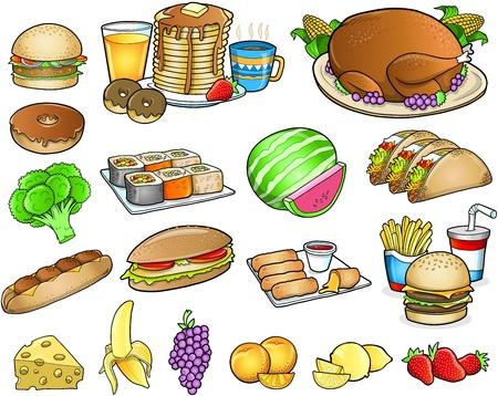 Food Meal Drink Elements Set Ilustracja