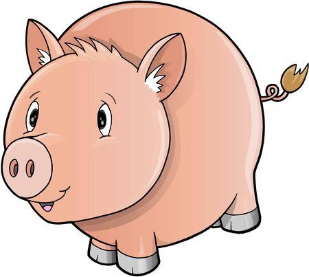 Cute Farm Pig  Vector