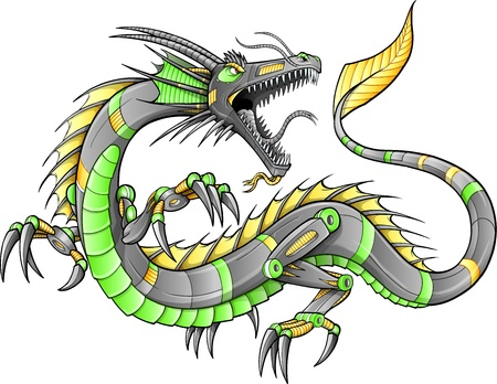 Robot Cyborg Dragon Illustration art  Vector