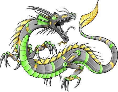 Robot van Cyborg Dragon Illustratie kunst Stock Illustratie
