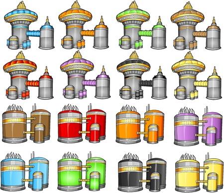 spaceport: Spaceport battle station  Illustration Set