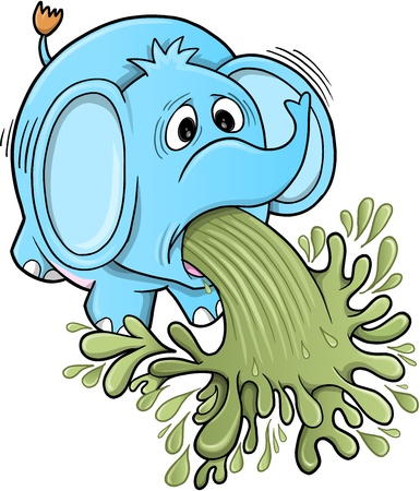 Barfing Vomiting Elephant Stock Vector - 16210291