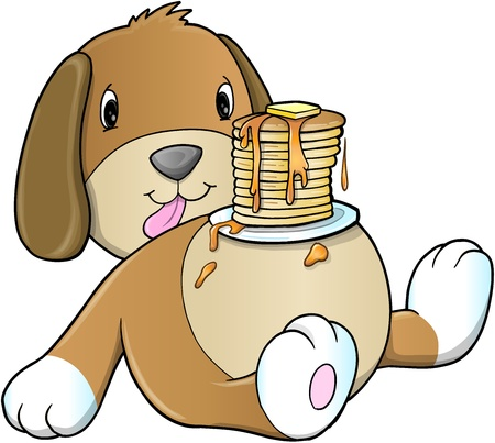 Cute Puppy Dog Pancake Breakfast Stock Vector - 16210294
